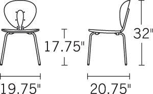 H 33.5; W 18; D 21.5; Seat H 18.5;