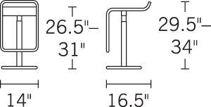 H 29.5-34; W 14; D 16.5; Seat H 26.5-31;