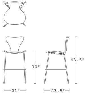 H 43.5; W 21; D 23.5; Seat H 30;