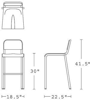 H 41; W 18.5; D 22; Seat H 30;