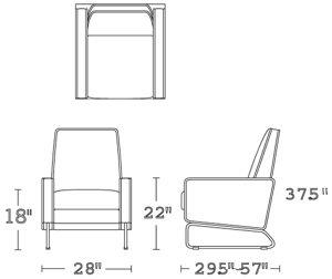 H 37.5; W 28; D 29.5-57; Arm H 22; Seat H 18;
