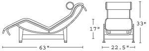 H 33; W 21; D 63; Seat H 17.5;