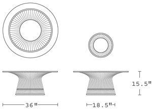 H 15.5; Diameter 36; Base Diameter 18.5;