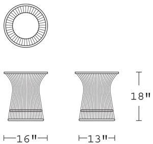 H 18; Diameter 16; Base Diameter 13;