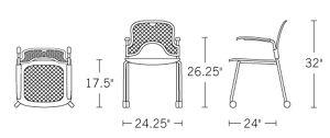 H 32; W 24.25; Seat H 17.5; Seat D 17.25; Arm H 26.25;