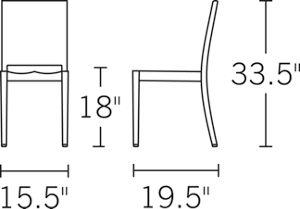 H 33.5; W 17; D 19.5; Seat H 18;