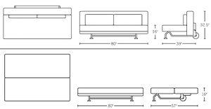 Sofa: H 32.5; W 80; D 34; Seat H 16; D 28; Bed: H 16; W 80; D 57;
