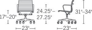 H 31-34; D 23; W 23; Seat H 17-20; Arm H 24.25-27.25;