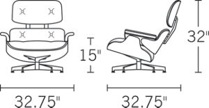 Chair, H 33; D 33; W 33; Seat H 15; Arm H 20.5;