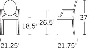 """H 37"""" W 21"""" D 22"""" Seat H 19"""" Arm H 27"""""""