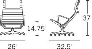 H 37; D 32.5; W 26; Seat H 14.75;