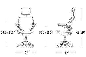 H 43-53; W 27; D 25; Seat H 16.5-21.5;