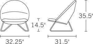 H 35.5 W 32.25 D 31.5 Seat H 15.5;