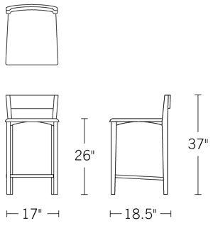 H 36.75; W 17; D 19; Seat H 26;