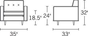 H 31; W 35; D 33; Arm H 23.5;