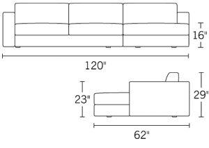 H 29; W 119; D 38; Arm H 23;