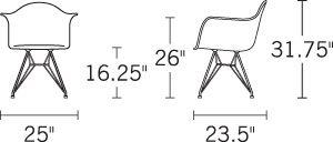 H 32; W 24.5; D 23.5; Seat H 16.5; Arm H 26;