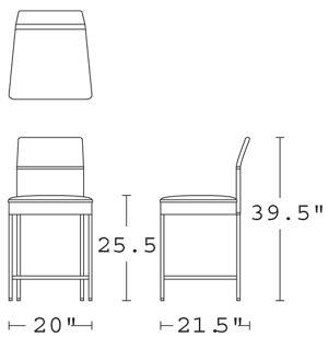 H 39.5; W 20; D 21.5; Seat H 25.5;