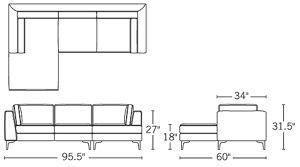 H 31.5; W 95.5; D 34; Chaise D 60; Arm H 26.75; Sofa Seat D 21; Chaise Seat D 46.75;
