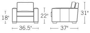 H 31; W 36.2; D 37; Seat H 18; Seat D 22; Arm H 22;