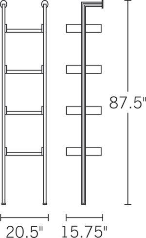 H 87.5; W 20.9; D 16; Shelf Width 17.7;