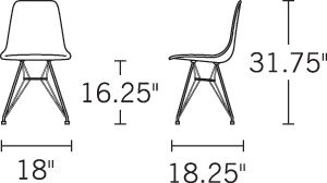 H 31.5; W 18.5; D 22; Seat H 17.5;