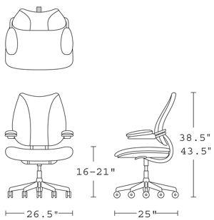 H 38.5-43.5; W 26.5; D 25; Seat H 16-21;