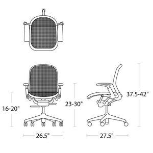 H 37.5-42; W 26.5; D 27.5; Seat H 16-20; Arm H 23-30;