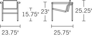 H 25.2; W 23.6; D 25.6; Seat H 15.75; Arm H 23;