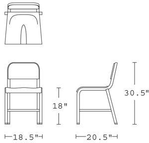 H 30; W 18.5; D 20; Seat H 18;