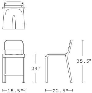 H 35; W 18.5; D 22; Seat H 24;