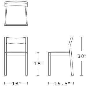 H 30; W 18; D 19.5; Seat H 18;