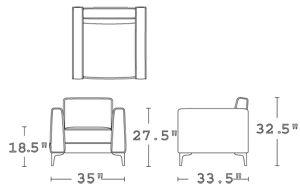 H 31; W 35; D 33.5; Seat H 18; Seat D 21; Arm H 27.5;