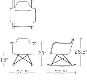 Eames molded plastic rocker rar white maple herman for Chaise a bascule style eames