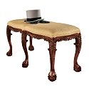 French Baroque Honey Upholstered Bench - Large