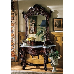 Hapsburg Mirror and Marble Topped Console Table - GR2232 - Design Toscano