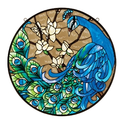 Springtime's Peacock Hand-Painted Glass Art Panel - JB401 - Design Toscano :  peacock stained glass