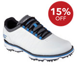 Men's Pro Spiked Golf Shoes - Wht/Blk/Blu (#53529-WGBL)