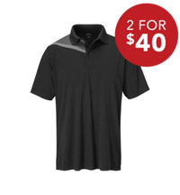 Men's Assym Yoke Print Short Sleeve Polo