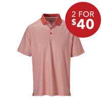 Men's Knit Trim Stipe Short Sleeve Polo