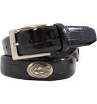 Collegiate Croco Print Leather Belt (Black)