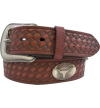 Men's Collegiate Leather Embossed Basketweave Belt (Brown)