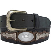 Men's Collegiate Leather Overlay Concho Belt (Black)