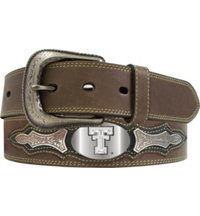 Men's Collegiate Leather Overlay Concho Belt (Brown)