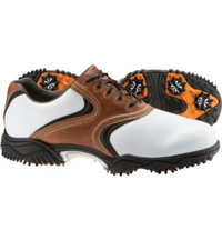 Men's Closeout Contour Golf Shoes - White/Taupe/Black (FJ#54002)