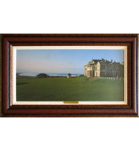 Framed Art - St. Andrew's 18th Hole with Red Leather Frame (27