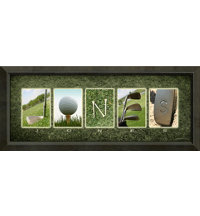 Personalized Name Print - Golf Letters with Framed Canvas