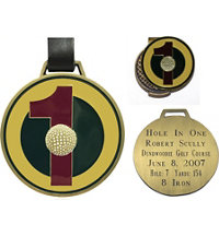 Personalized Brass Hole In One Bag Tag & Hat Clip Marker