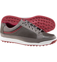 Men's Closeout Contour Casuals Series Spikeless Golf Shoes - Gray/Crimson (FJ#54238)