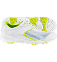 Women's Closeout SuperLites SpikelessGolf Shoes - White/Neon Yellow Trim (FJ# 98829)